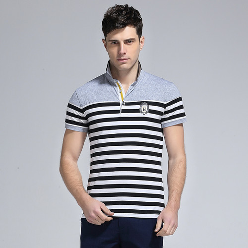 New 2018 Summer Fashion Turn-down Collar Cotton Striped Casual t shirt Men Slim Fit t-shirt Homme Men's Clothing  #MDXZ-6822