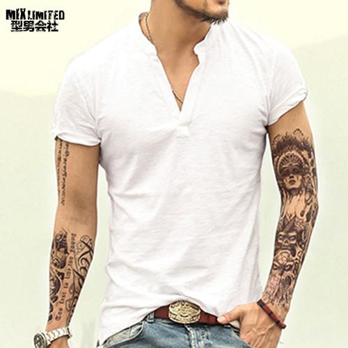 2e19e6d9d Men t shirt solid Tops Tees Short Sleeve t-shirt Men s brand fashion V neck