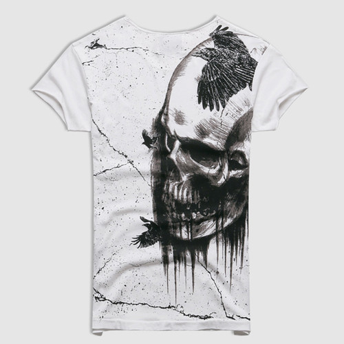Men 2018 Summer Printed Skull Cotton Short Sleeve T-shirt Men Fashion High Quality New Design Hot Sale T-shirt Men Top Tees