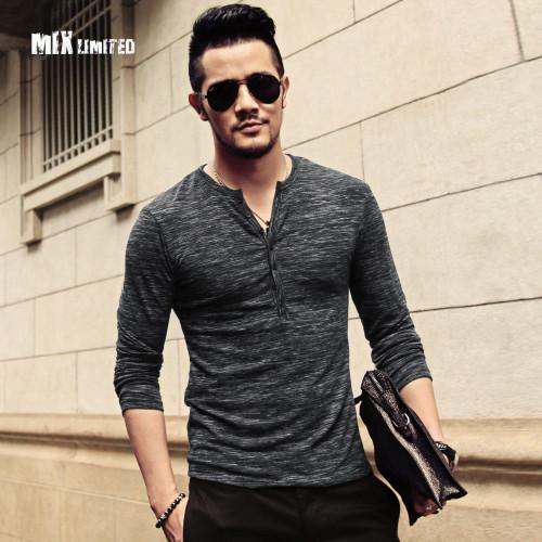 2018 New Men Long Sleeve Solid Color T-shirt Men V Neck Slim Fit Casual Cotton T-shirt Men High Quality Hot Sale Fashion T-shirt