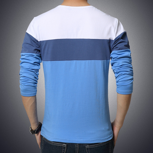 Men's Clothing Tops &Tees T-Shirts Free Shipping 2018 spring New Fashion Brand Men Solid Color Long Sleeve Slim Fit T Shirt