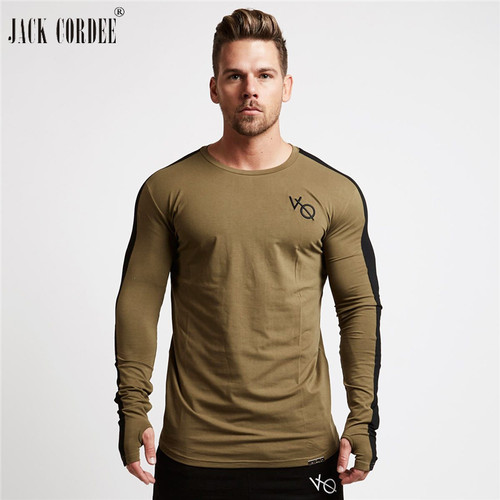 JACK CORDEE Fashion Men's T-shirt 2018 Spring Long Sleeve T shirt Men O-Neck Fitness Gyms T Shirts Cotton Tshirt Tee Shirt Homme