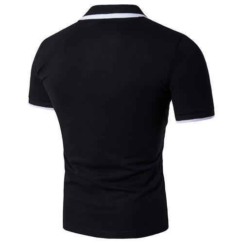2018 Summer New Men Tee Shirt Fashion Print Slim Fit T-Shirt Men Short Sleeve Turn Down Collar Men's T Shirt Black/White 2XL-S