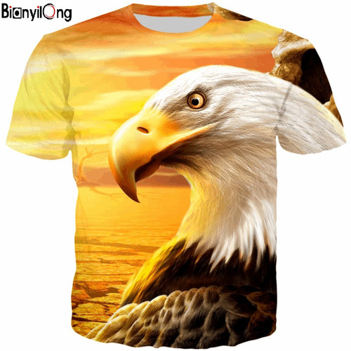 BIANYILONG 2018 new T-Shirt  man fashion 3D Short Sleeve T-Shirt Eagle Printed Casual Tops tee