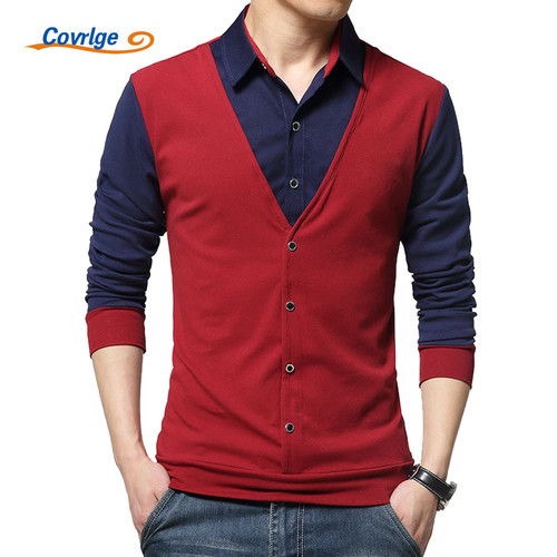 Covrlge Men's T-shirt with Long Sleeve 2018 Spring Male Turn-down T-shirts Fashion Patchwork Mens T Shirts Brand Tops MTL076
