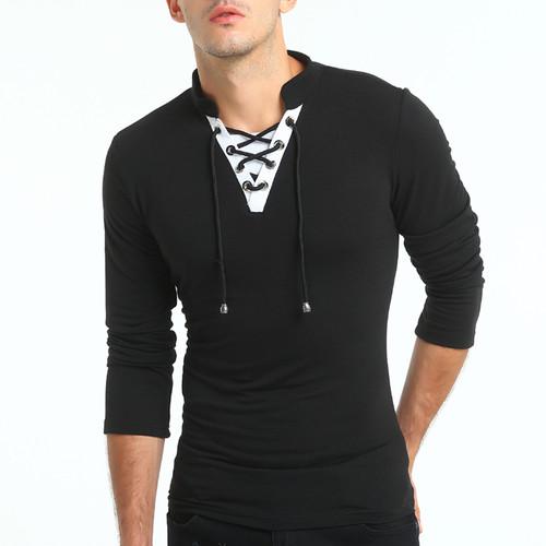 31c25118daa 2018 Fashion Men T-shirt Slim Fit Custom T-shirt Crease Design Long Stylish  Luxury V Neck Fitness T-shirt Tee Shirt Homme