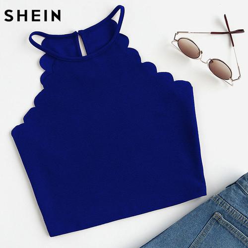 Crop Tops Women 2017 Solid Blue Scallop Trim Halter Top Summer Women's Sleeveless Camisole Women Sexy Top