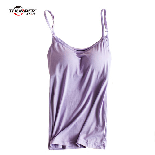 Women's Built In Bra Padded Modal Tank Top Camisole Women Adjustable Strap Push Up Tops 2018 New Fitness Bra Top