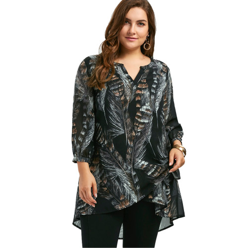 LANGSTAR 2017 New Autumn Fashion Feather Print Big Size Women Long Shirts Long Sleeve V Neck Plus Size Tunic Top XL-5XL