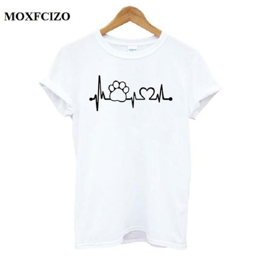 Cotton Paw Heartbeat Lifeline dog cat Women tshirt Halajuku Casual Funny t shirt Women Unisex Lady Girl Women Top Tees Hipster