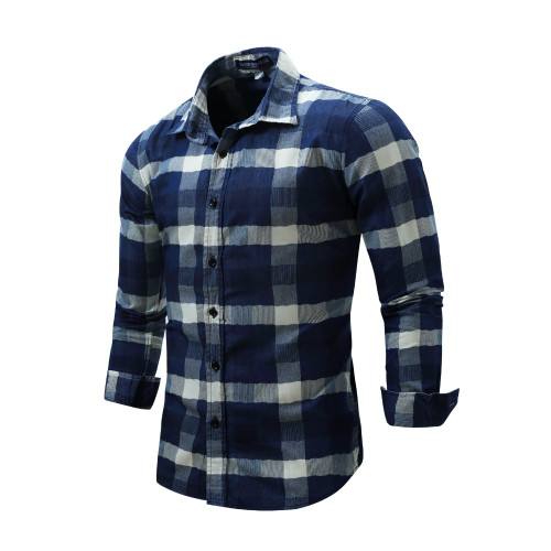 NORMEN Brand Clothing Men's Plaid Shirts Top Grade Denim Shirt Full Sleeve Easy Care Shirt For Men camisa social masculina