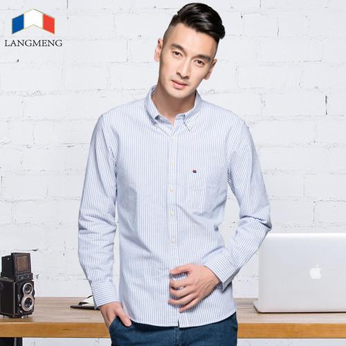 LANGMENG 2018 New Arrival Long Sleeve Men Shirts Cotton Formal Dress Shirt Male Fashion Slim Fit Striped Casual Shirt Men