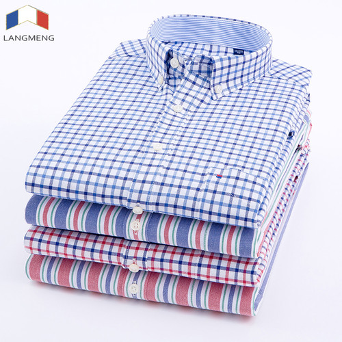 Langmeng Men Oxford Casual Shirt 2018 Long Sleeve Slim Fit Comfortable Plaid Shirt Mens High Quality Dress Shirts Brand Clothing