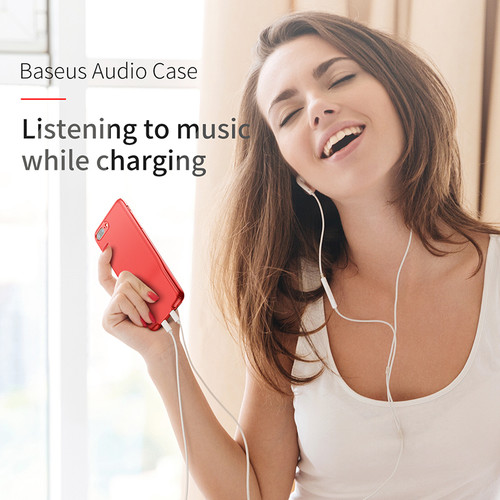 Baseus Audio Case For iPhone X 10 Earphone Headphone Cover Charging Adapter Splitters Aux Back Support Music Charger Light Case