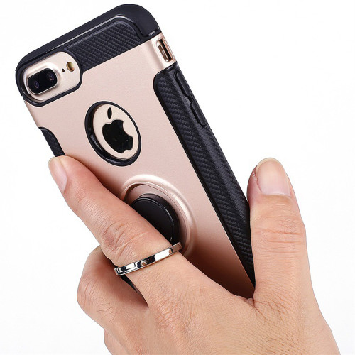 360 degree rotating fiber material Case for iPhone X 8 8Plus 6 6S 6Plus case Cover for iPhone 7 7Plus  case for iphone-7-case