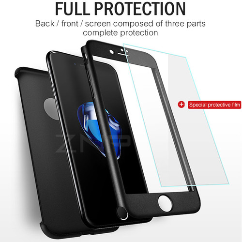 ZNP 360 Degree Full Cover Case For iPhone 8 7 Plus Case 6 6s wish Tempered Glass Cover For iphone 7 6 6s Plus 8 Phone Case Capa