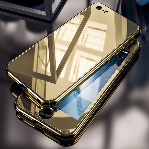 For iPhone 5S Case Luxury Business Gold Plating Mirror 360 Case For iPhone 5 5S For iPhone SE Hard PC Full Protection Cover Capa