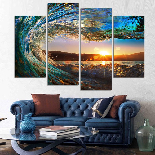 4 pieces Modern Seascape Painting Canvas Art HD Sea Wave Landscape Wall Picture For Bed Room Unframed F213