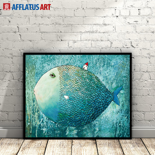 AFFLATUS Fish Nordic Poster Canvas Painting Watercolor Wall Art Posters And Prints Abstract Wall Pictures For Living Room Decor
