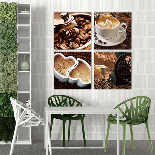 Picture wall art print canvas painting 4 pcs canvas art Coffee Kitchen modern abstract wall pictures for living room decoration