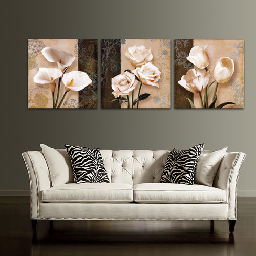3 Piece Flower Canvas Painting Modular Picture On The Wall Decorative Wall Pictures For Corridor Home Decor No Frame