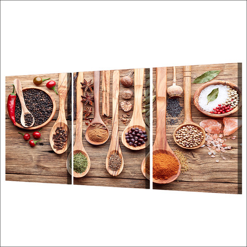 Modern HD Prints Poster Framework For Living Room Wall Art Food Pictures 3 Piece Spoon Grains Spices Canvas Paintings Home Decor