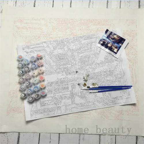 Oil paint painting by numbers diy picture coloring drawing on canvas oil painting by hand landscape craft city road J046
