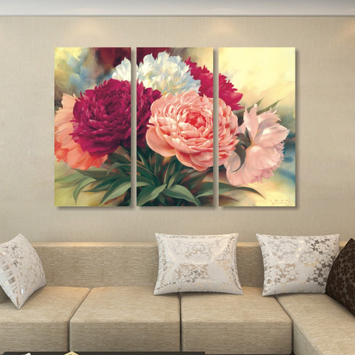 home decoration Chinese peony flowers canvas painting wall art Beautiful flower picture professional high-definition printing