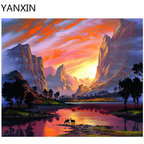YANXIN DIY Frame Painting By Numbers Oil Paint Wall Art Pictures Decor For Home Decoration 977