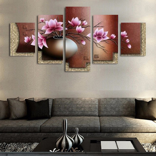5 Panel Canvas Wall Art Decor Modern Decorative Picture Vintage Flower Canvas Painting Wall Pictures for Living Room WP06