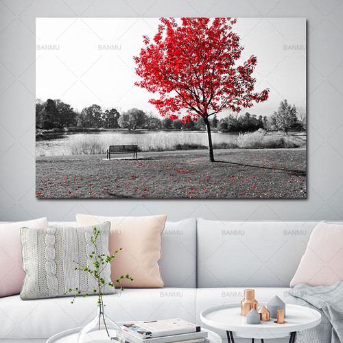 Wall Picture Canvas painting poster Wall art print on landscape flower canvas painting tree home decor for Living Room no frame