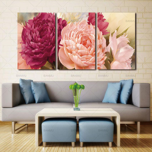 3 Panel Pictures Canvas Painting wall art  peony Flower Painting Wall Art Decorative Canvas Wall Art Modular Picture(Unframed)