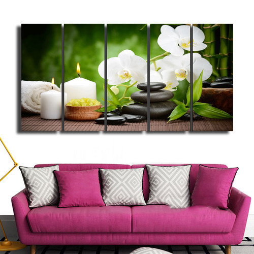 BANMU Canvas Painting Home Decoration Pictures Wall Pictures For Living Room No Frame Spring Stone Bamboo Image Modular Pictures