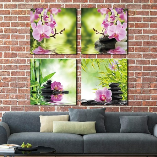 4 Panel Wall Art Botanical Green Feng Shui Orchid Oil Painting On Canvas Quartz Crystal Abstract Picture Home Decor