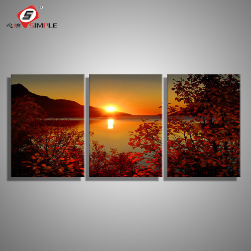SIMPLE Oil Painting Canvas Lake Sunset Landscape Wall Art Decoration prints Home Decor Modern Wall Picture For Living Room