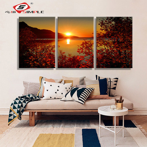 SIMPLE Oil Painting Canvas Lake Sunset Landscape Wall Art Decoration prints Home Decor Modern Wall Picture For Living Room(3PCS)