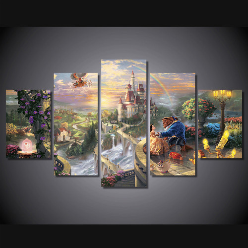 Modern Canvas Wall Art Home Decor For Living Room HD Printed Poster 5 Pieces Cartoon Castle Beauty And The Beast Painting PENGDA