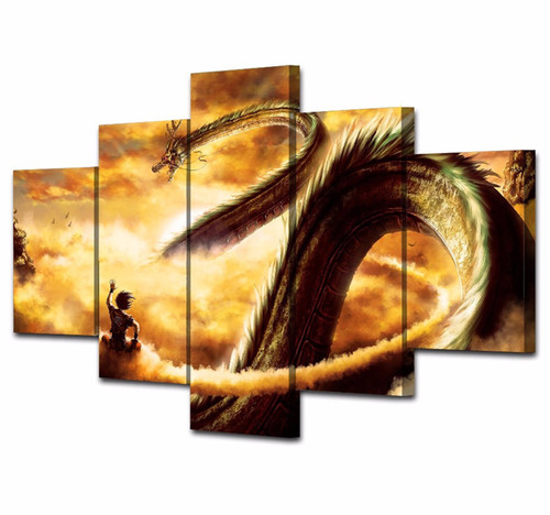 5 Piece Wall Art Canvas Painting Cartoon Dragon Ball Modular Art Picture For Living Room Posters Prints Christmas Home Decor