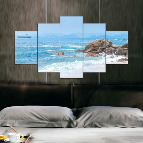 Wall Art Modern Painting Sea Beach Canvas Picture Wall Pictures Artwork Print On Canvas Painting by Numbers Unframed 5 Pieces