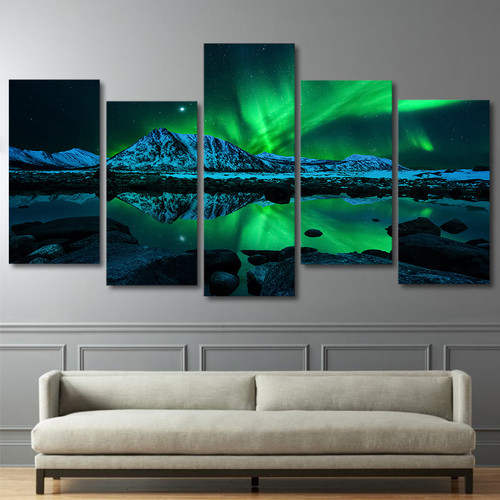 Wall Art Canvas Prints Poster Home Decor 5 Pieces Green Aurora Borealis Lake Hill Night Paintings Living Room Pictures Framework