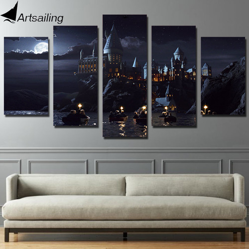HD Print 5 piece canvas art Harry Potter poster School Hogwarts Castle modular Paintings movie posters 2018 dropshipping ny-6267