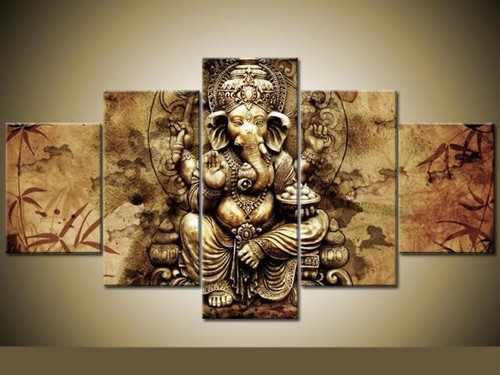HD print 5 pcs Ganesha Red Maple Tree canvs Painting wall Art Pictures home decor wall art picture for living room decor PT1164