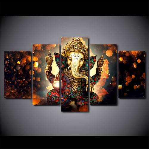 HD Printed 5 Piece Canvas Art Hindu God Ganesha Elephant Painting hindu-god-canvas dropshipping canvas art UP-1931B