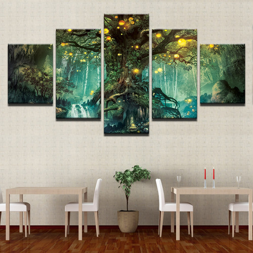 Canvas Wall Art Pictures Frames Living Room 5 Pieces Enchanted Tree Scenery Paintings Home Decor HD Printed Magic Forest Posters