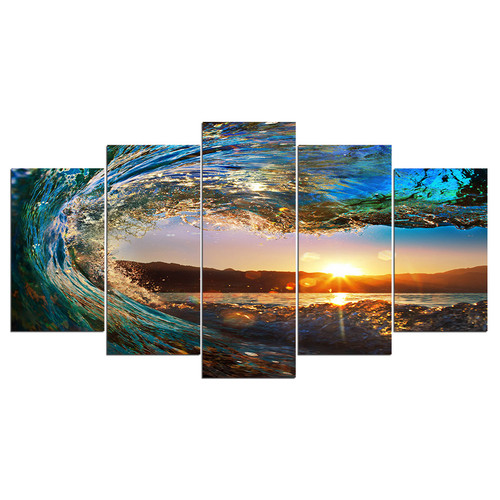 ArtSailing 5 piece canvas art Seascape Sunset in Waves modular Painting posters and prints wall picture for living room NY-7636B