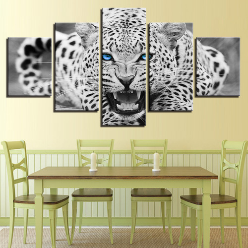 5 Pieces Black White Animal Pictures King Of The Forest Lions Painting