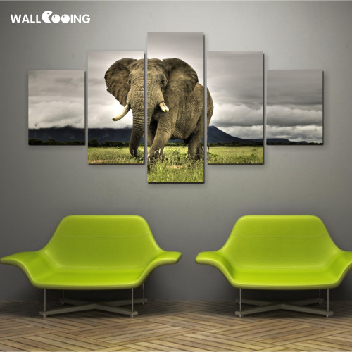 5pcs canvas painting pictures High quality HD cheap price great Art African Elephant Pictures Modular Modern Home Decor unframed