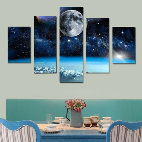 Modern 5pcs Space Canvas Painting HD Printed Universe Galaxy Space Moon Picture Home Decorate Poster Prints Wall Art Painting