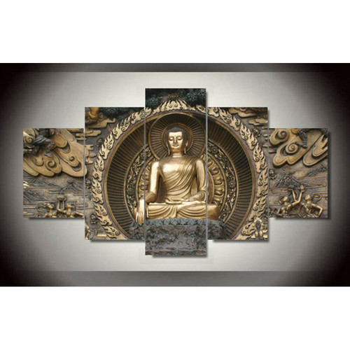 5 pieces Framed Print Buddha Painting On Canvas Art picture For Living room wall decor Home decor wall art Painting