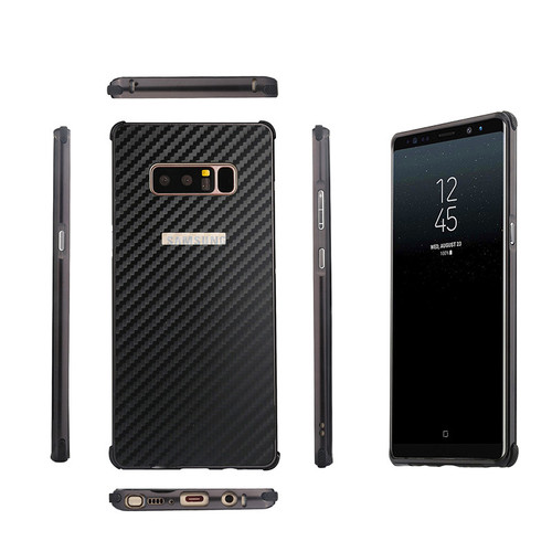 For Samsung Note 8 N950F Anti-knock Case Aluminum Metal Frame with Carbon Fiber Hard Cover Case for Samsung Galaxy Note 8 Note8
